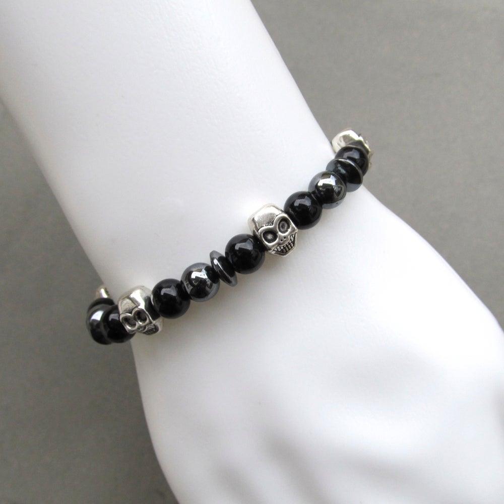 Image of Black Glass Mixed Skull And Hematite Beaded Bracelet