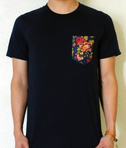 Image of Blue Floral Print on Navy Tee