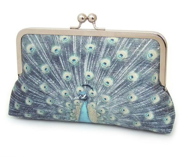 Blue peacock clutch bag, silk purse - Red Ruby Rose