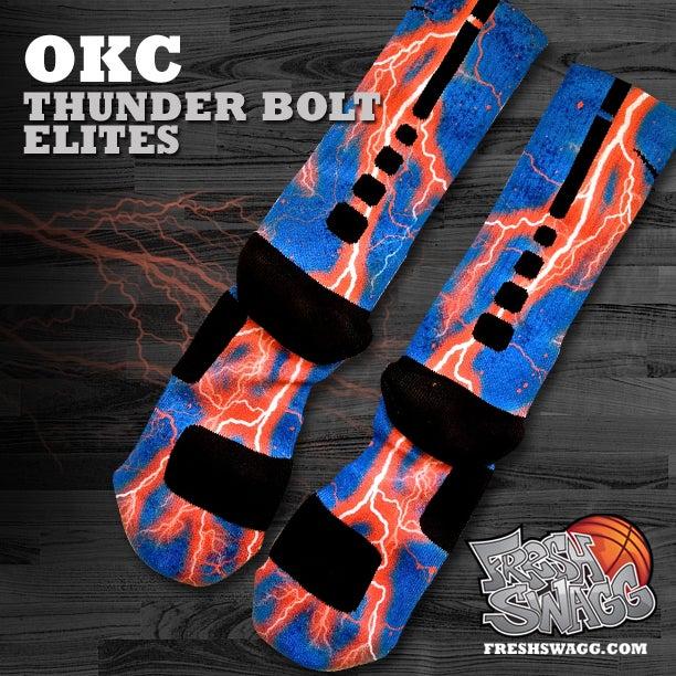 Custom nike elite socks okc thunderbolt for Custom elite
