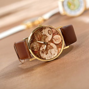 Image of Five Continents Map Wrist Watch / Men's Unisex Watch / Women's Watches (WAT00101 Brown)