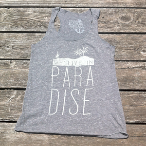 Image of We Live In Paradise Eco Grey (Girls Tank)