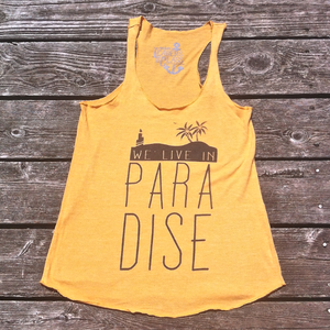 Image of We Live In Paradise Eco True Gold (Girls Tank)