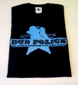 Image of Dub Police Black/Blue Logo Mens T-Shirt