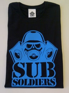 Image of Sub Soldiers Black/B.Blue Logo Womans T-shirt