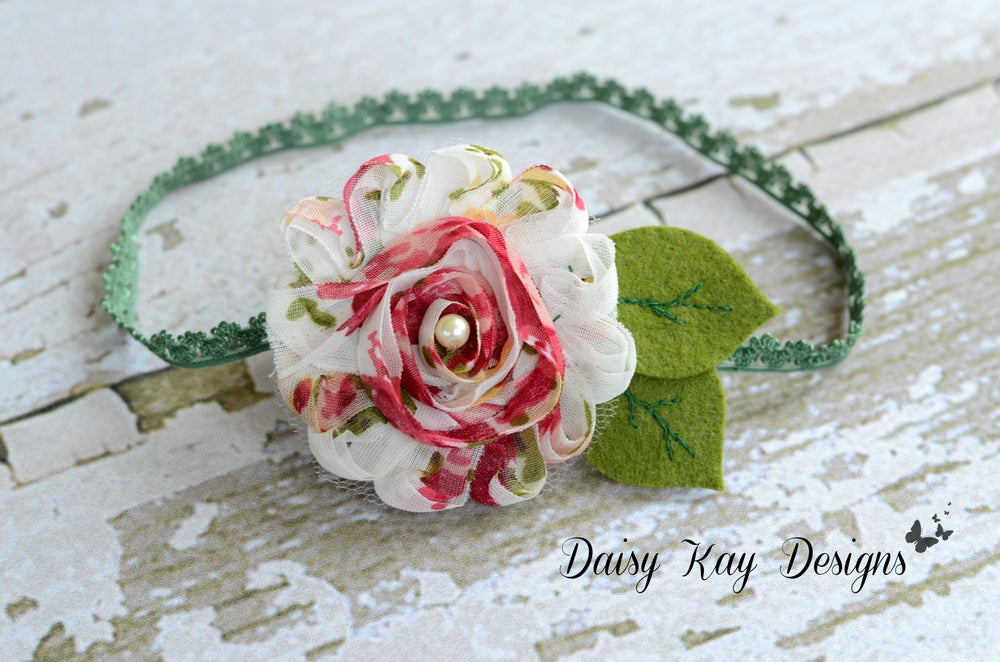 Image of Chiffon Floral headband/clip with embroidered leaves