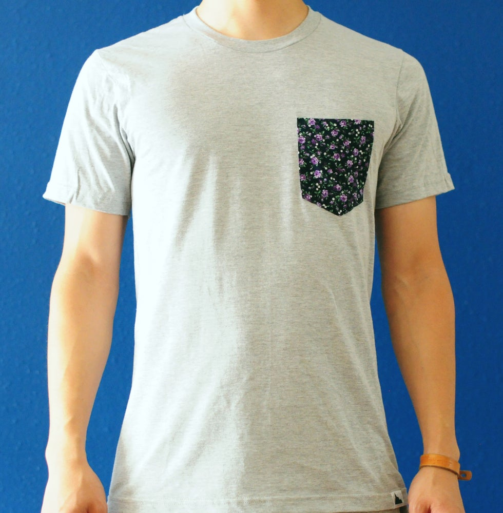 Image of Small Purple Floral Print on Grey Tee