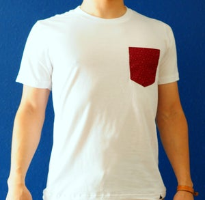 Image of Cranberry with Beige Specks Print on White Tee