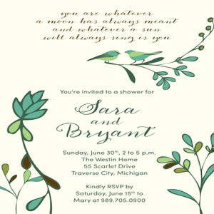 Image of Birds and Branches Shower Invitation (i carry your heart with me - poem)