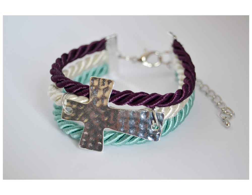 Image of Silk Rope/Sideway Cross Bracelet