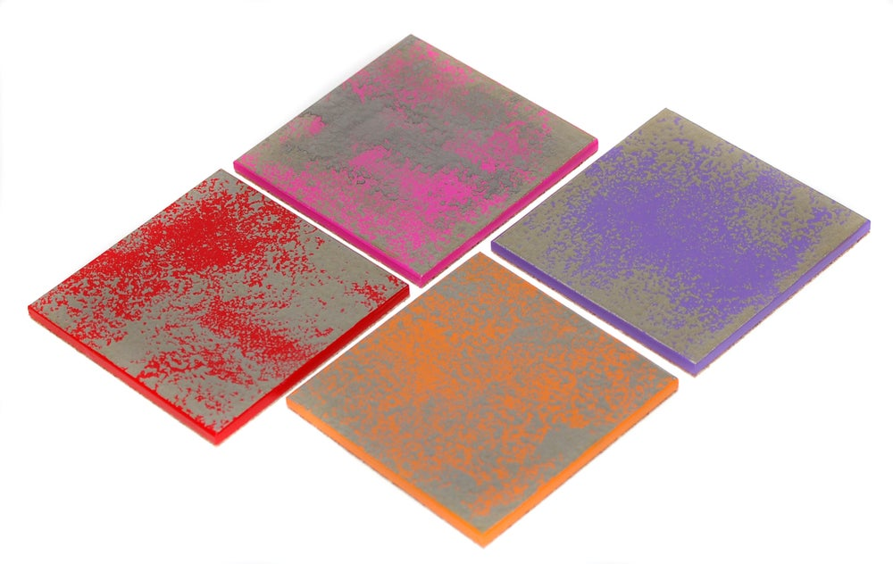 Image of Set of 4 coasters ~ Silver Leaf/Jewel