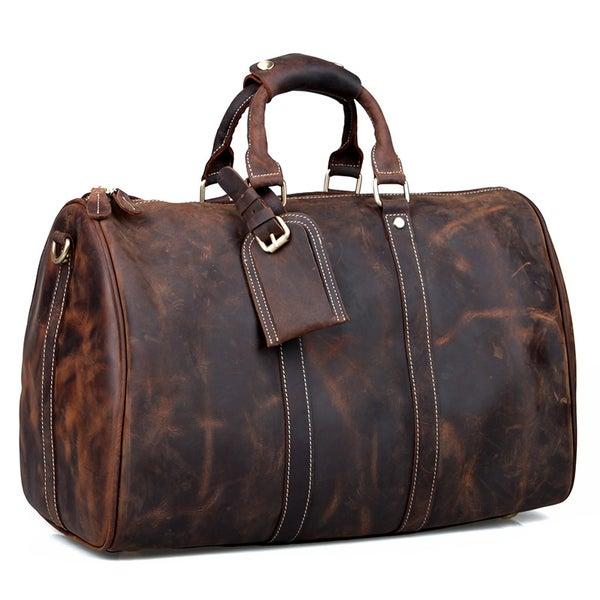 Image of Vintage Handmade Antique Crazy Horse Leather Travel Bag / Luggage / Duffle Bag / Weekend Bag (n66-2)