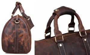 Image of Vintage Handmade Antique Crazy Horse Leather Travel Bag / Luggage / Duffle Bag / Weekend Bag (n66-2)