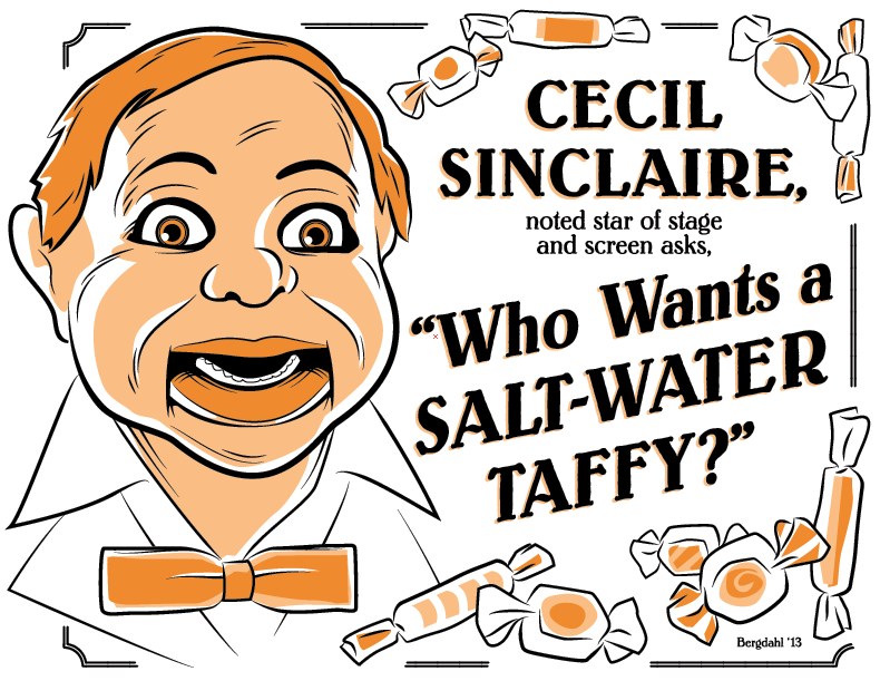 "Image of Cecil Sinclaire ""Who Wants A Saltwater Taffy?"" Stickers"