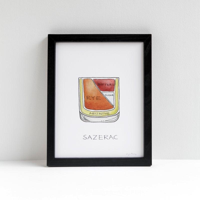 Image of Sazerac cocktail diagram print