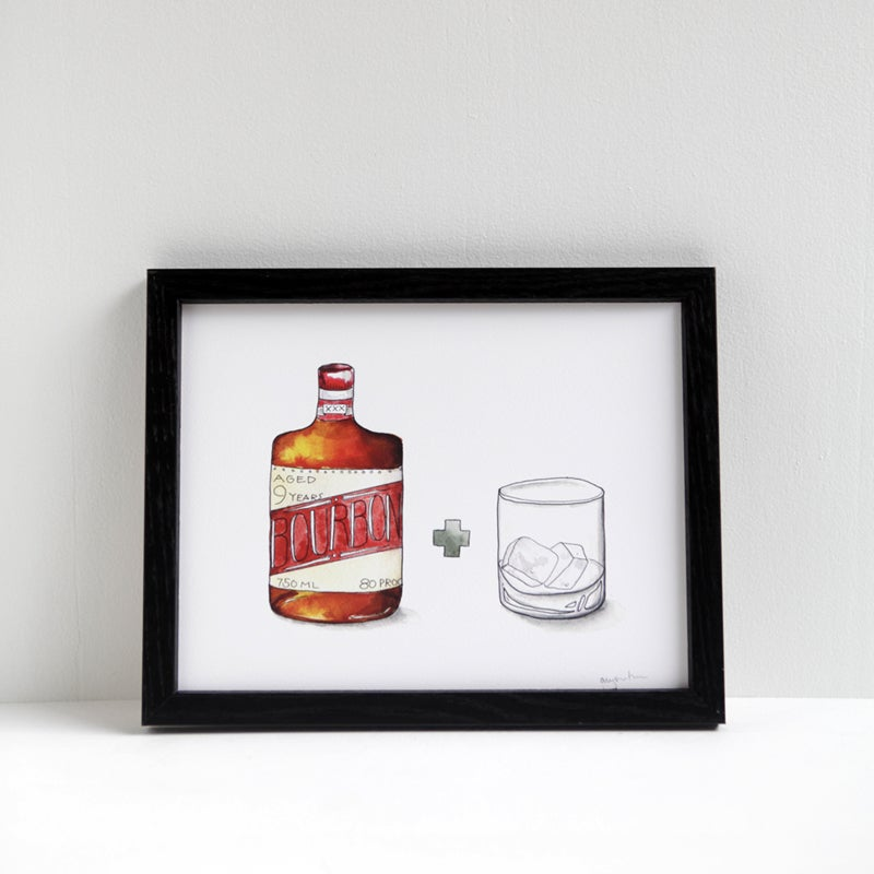 Image of Bourbon + Empty Glass Print