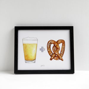 Beer + Pretzel Print by Alyson Thomas of Drywell Art. Available at shop.drywellart.com