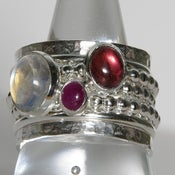 Image of Pink Tourmaline Ruby Rainbow Moonstone Birthstone Mothers Rings