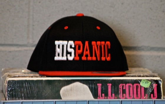 "Image of Red & Black ""HISPANIC"" Snapback Hat"
