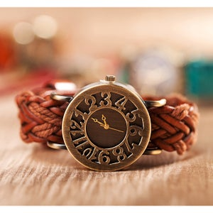 Image of Fathion Vintage Handmade Cowhide Bronze Women's Watch   (WAT0117)