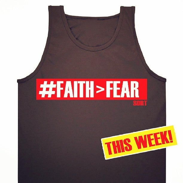 "Image of ""Faith is GREATer than Fear"" UNIsex Black Tank"