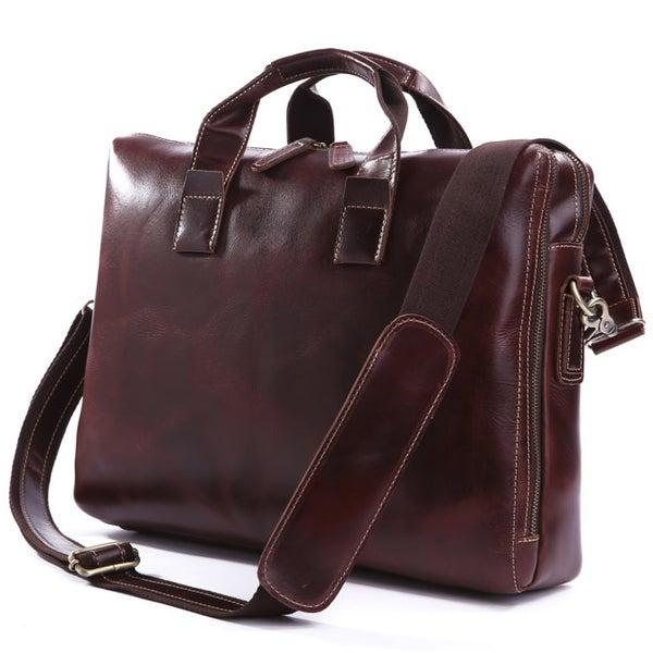 "Image of Handmade Genuine Leather Briefcase / Messenger / 14"" 15"" Laptop 13"" 15"" MacBook Bag (n18-2)"