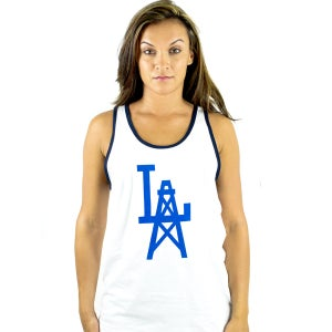 Image of OILA White & Navy Tank