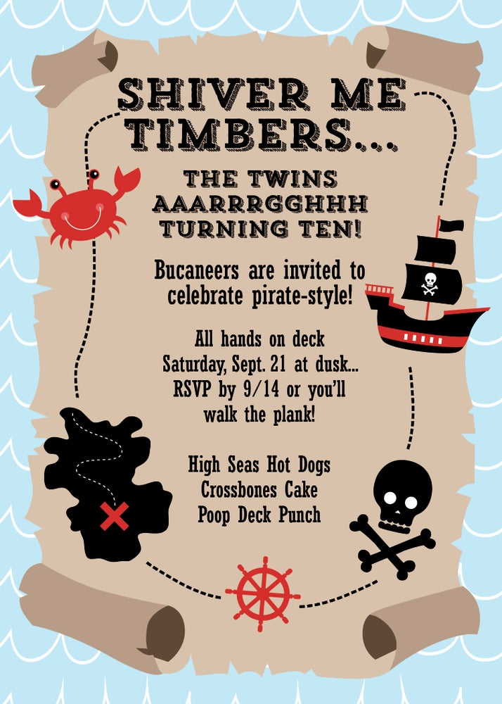 Image of Pirates Birthday Invitation (twins)