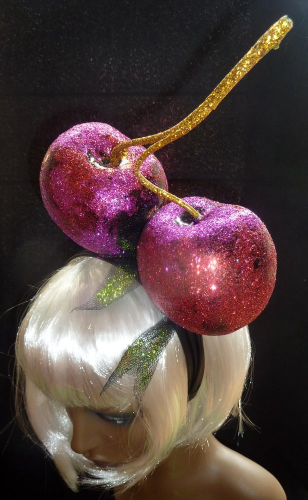 Image of Pink Cherries Glitter Head piece
