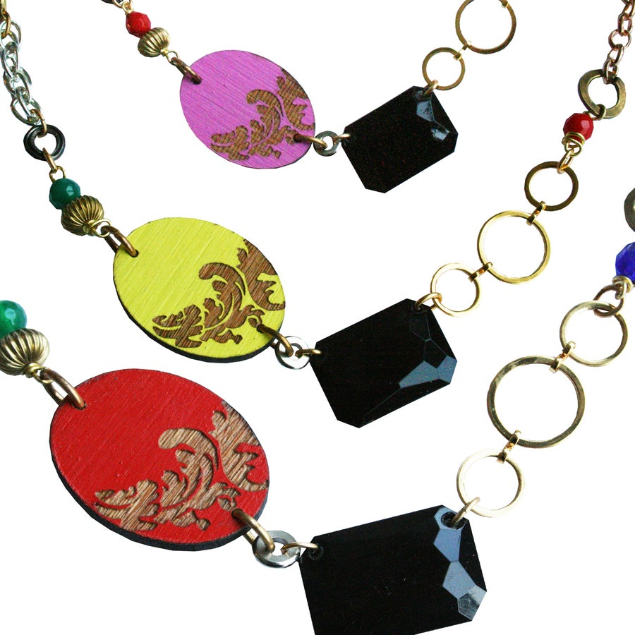 Image of Short Baroque jem necklace- various colours