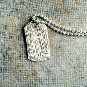 Image of woodgrain tag necklace