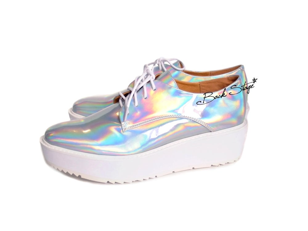 Image of Limited Edition - Hologram Holographic Metallic Mirrors Platform Oxford Brogues Shoes