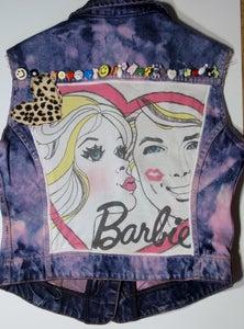 Image of One of a kind customised/handmade Barbie, Pink Denim Waistcoat/Jacket, Size 12.