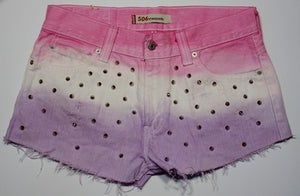 Image of One of a Kind. Customised, Studded & Dip Dyed White Levis Shorts. Size 12/14.
