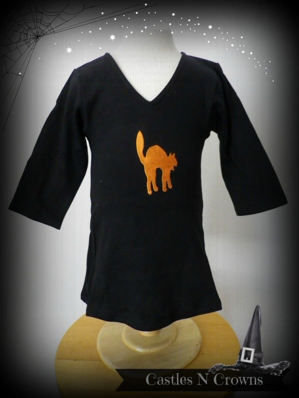 Image of Cotton Baby Witch Dress CAT Design with Halloween Booties SOLD OUT
