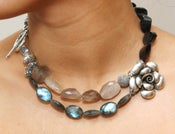 Image of Double Layer Rutilated Quartz, Garnet and Labradorite Necklace