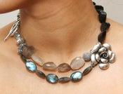 Image of Double Layer Rutilated Quartz, Garnet and Labradorite Necklace