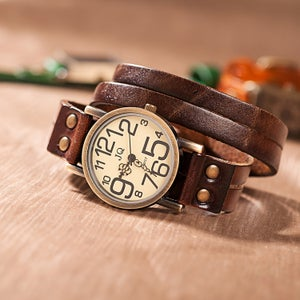 Image of Leather bracelet watch exclusive personality retro leather mechanical watch (WAT0119 coffee)
