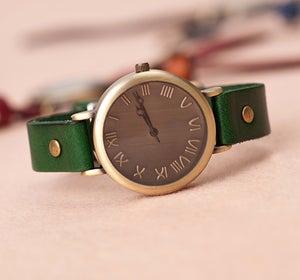 Image of Womens Wrist Watch / Handmade Vintage Leather Bangle Studded Bracelet Quartz Watch (WAT0120)