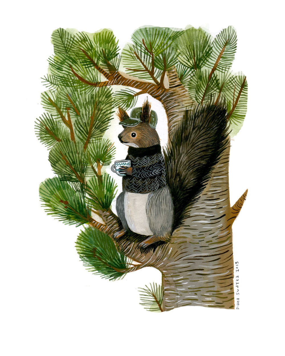 siberian squirrel and cup of tea archival inkjet print giclée