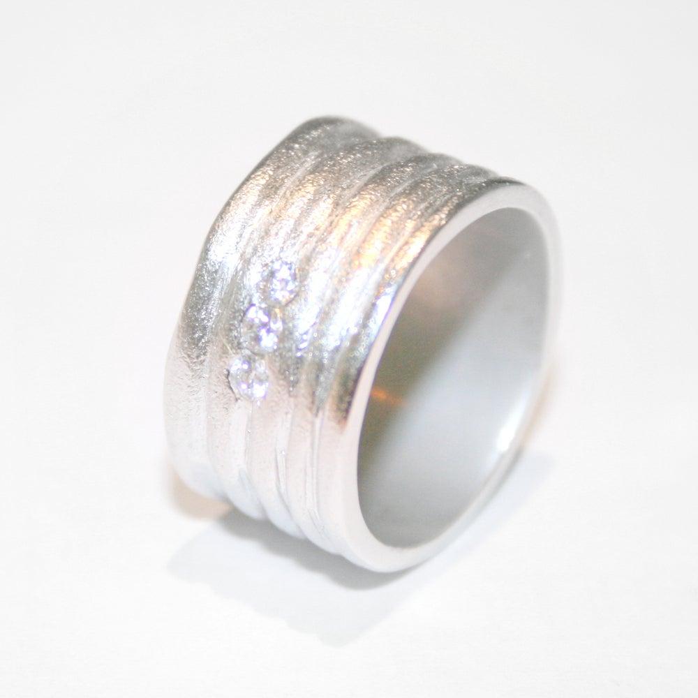 Image of Zilveren ring met zirkonium, zilveren trouwring, verlovingsring, Wijngaardstraat, Antwerpen