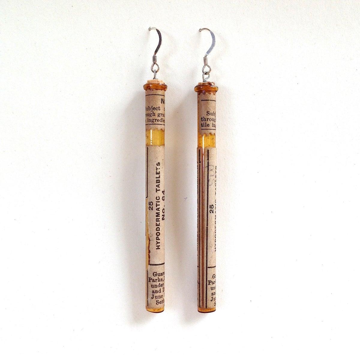 Pill bottle iii earrings mollie earls jewelry for Pill bottle jewelry