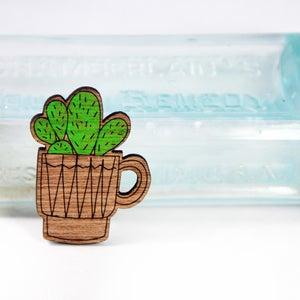 Image of Coffee Cup Cactus Handpainted Brooch