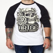 Image of DEAD ROSE-RAGLAN-WHITE/BLACK