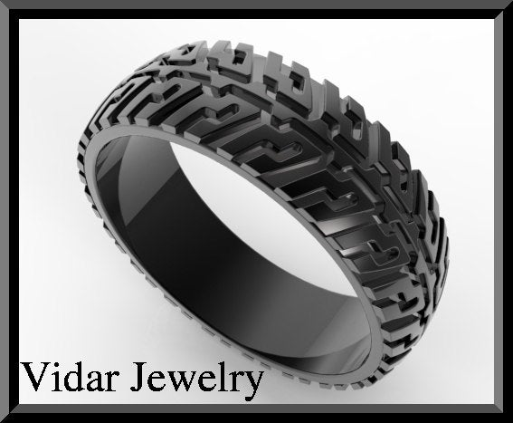 Black Gold Tire Tread Mens Wedding Ring