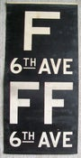 Image of 1940s IND New York Subway Sign w/Routes: F Train, 14x28 inches