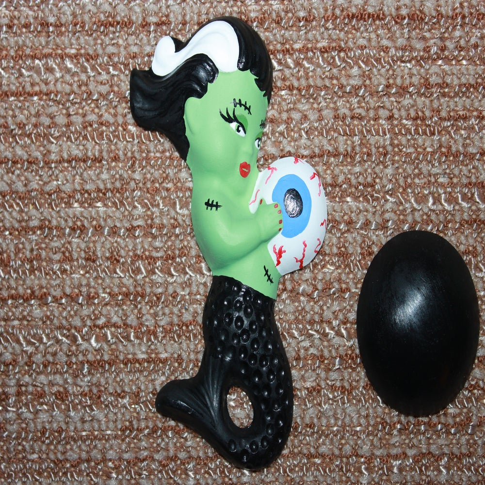 Image of Retro vintage reproduction chalkware mermaid zombie mom with babies and bubbles