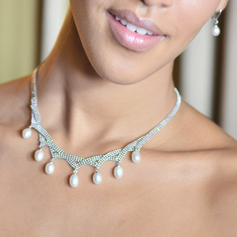 Image of Grace Pearl and Silver Mesh Necklace