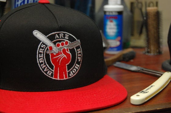 Image of Red and Black Barbers Are Hip Hop Snapback Hat