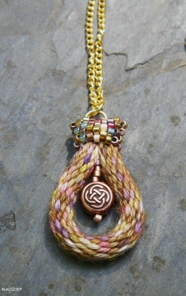 Image of Copper and Gold, handmade kumihimo pendant necklace